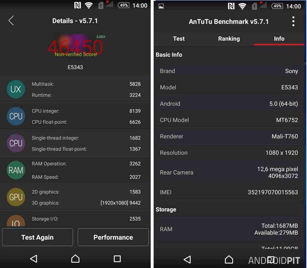 Espcificações técnicas e pontuação no Antutu. Via AndroidPIT.