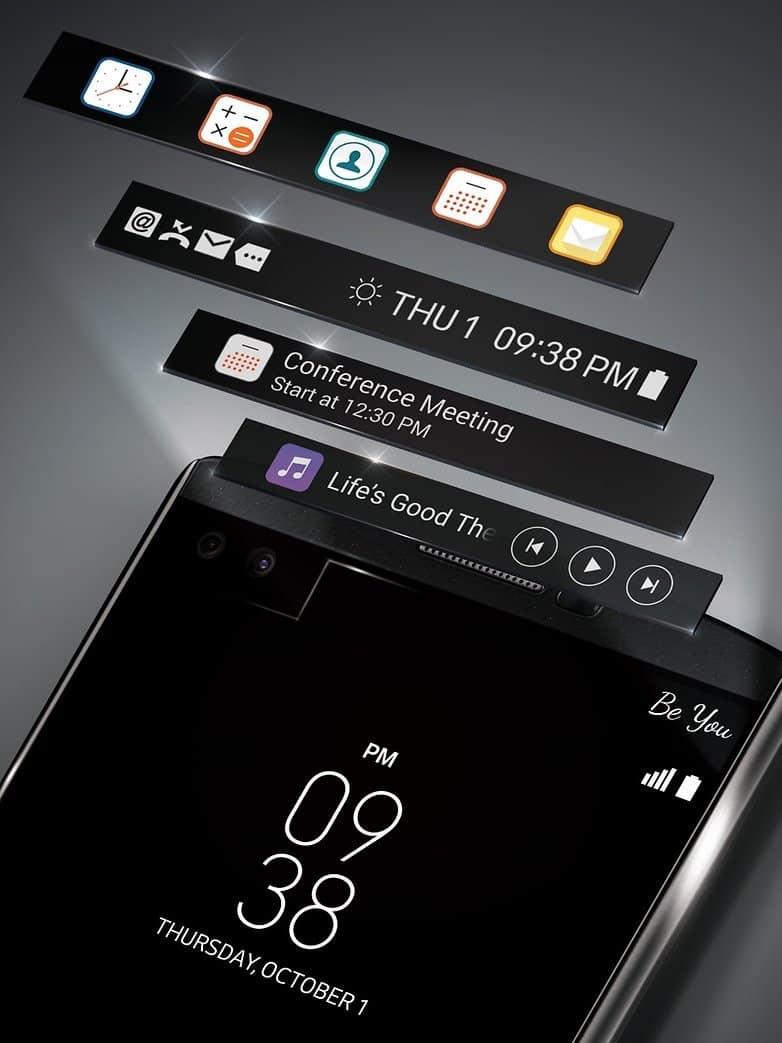 LG V10 trás nova tela secundária para economizar energia