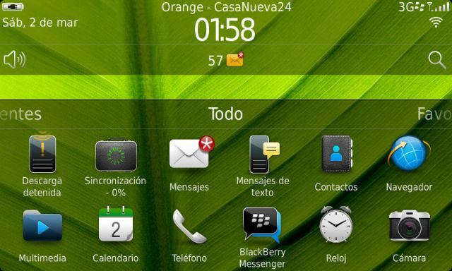 BlackBerry Torch 9860 - Pantalla principal