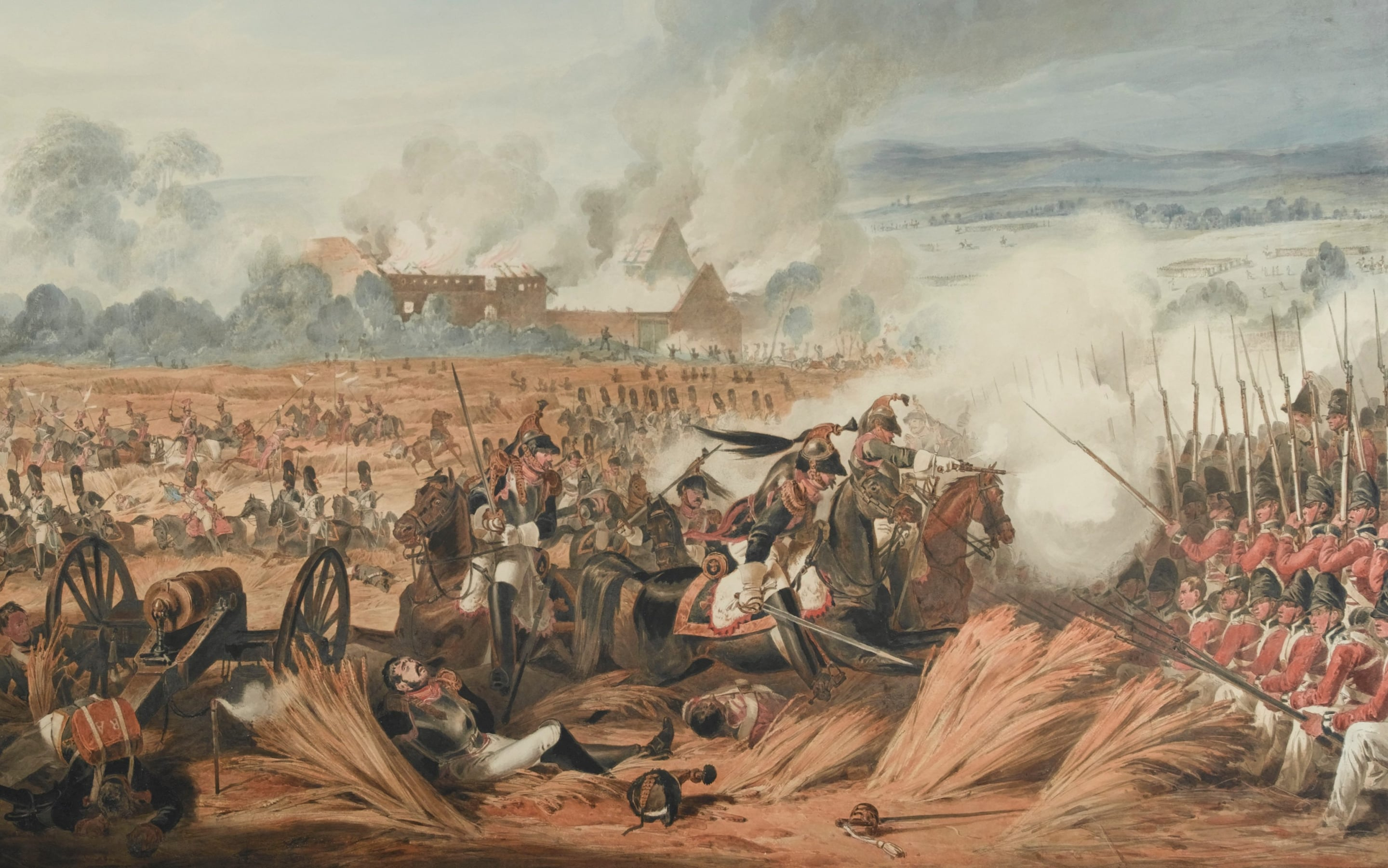 What is the most famous battle in British history  Attack on the British Squares by French Cavalry