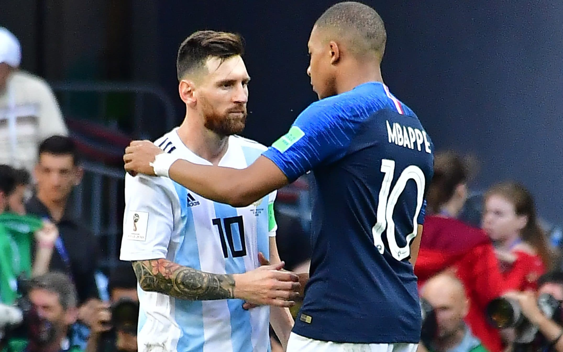 Grounded Kylian Mbappe will go all the way to the very top of the game Argentina s forward Lionel Messi congratulates France s forward Kylian  Mbappe  R  at the end of