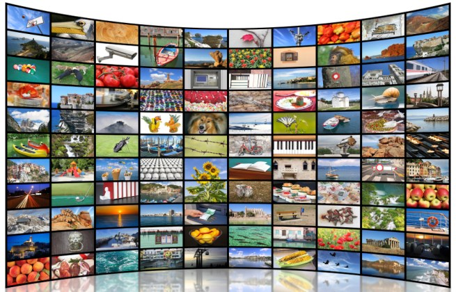 A variety of images as a big video wall of the TV screen tv digital painel televisão