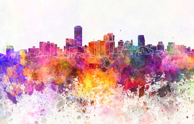 Adelaide skyline in watercolor background cidade predio