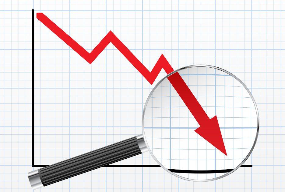 TeleSintese-Grafico-Negativo-Seta-caindo-baixando-investimento-resultado-lupa-Fotolia_134603692