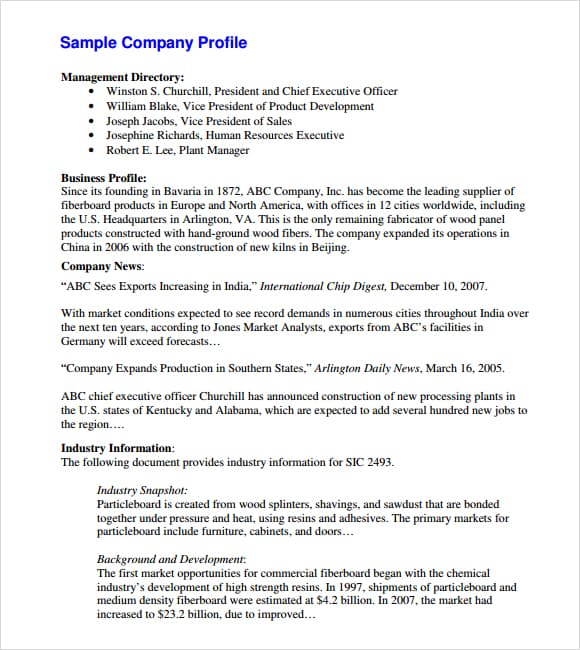 free business profile template word 28 images business profile – Company Profile Template Word