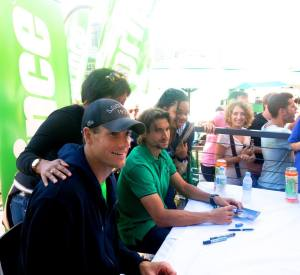 John Isner and David Ferrer meet fans at the Prince Hub at the Crown Entertainment Complex in Melbourne