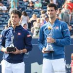 22-Nishikori and Djokovic with trophies