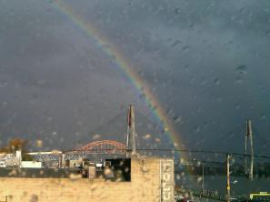 Double rainbows over downtown