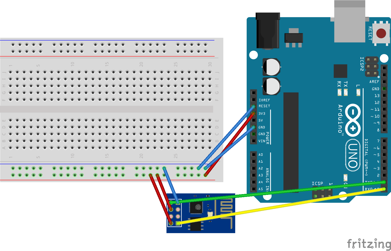 Arduino uno connected to esp
