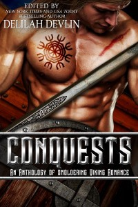 Cover of the anthology CONQUESTS. Shirtless, buff man (only torso shows), tattooed with traditional Nordic design. He holds a sword and shield.