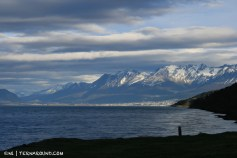 View of Ushuaia and the Andes foothills from my camping spot