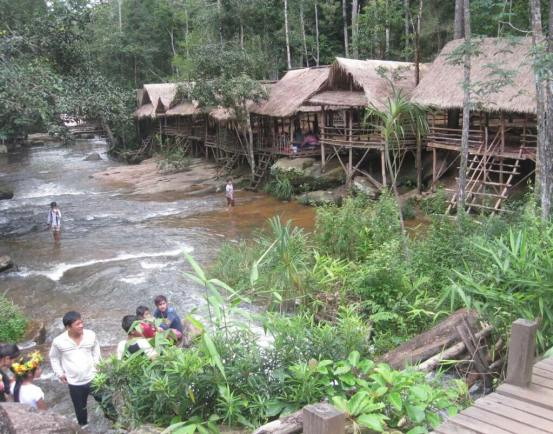Cambodian Village built on the banks of a mountain stream Cambodia Siem Reap