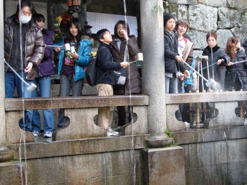 Kiyomizu-dera - drinking from the three water channels