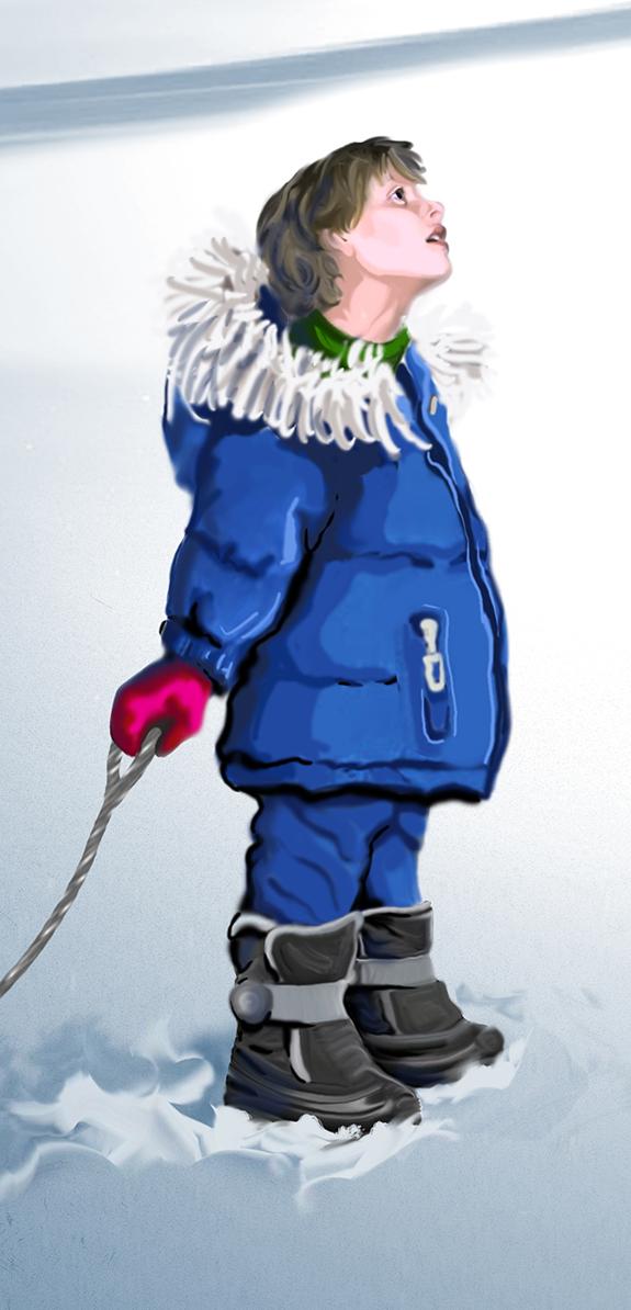Winter Boy (WIP) - Detail, Digital, 2014, by Terre Britton