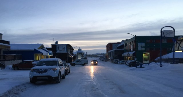 """Downtown"" Inuvik at 11:30 AM. Still -31 Celsius."