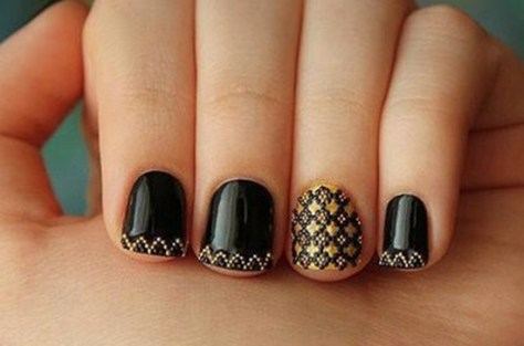 Unique Golden Nail Art 2013
