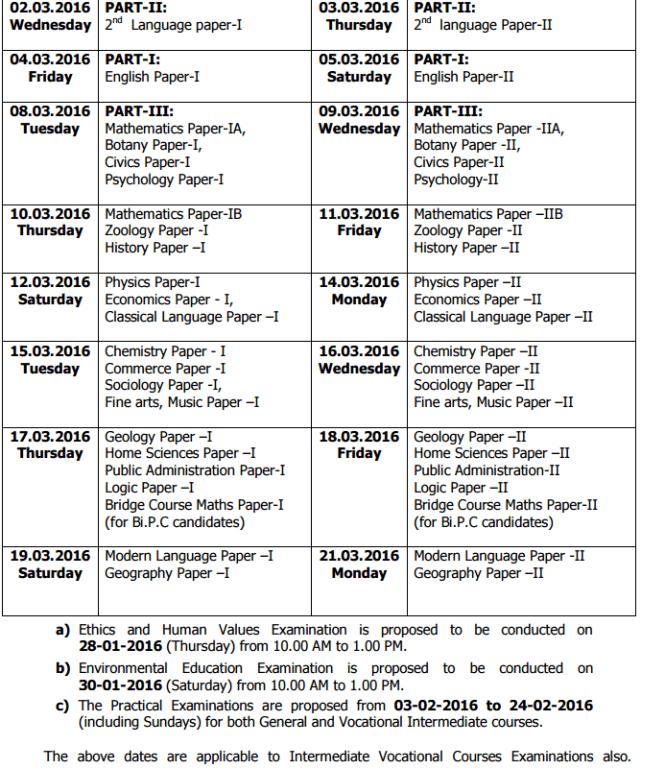 Telangana-TS-IPE-Time-Table