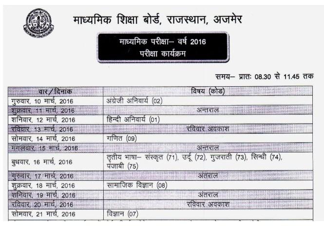 Rajasthan Board 10th Date Sheet
