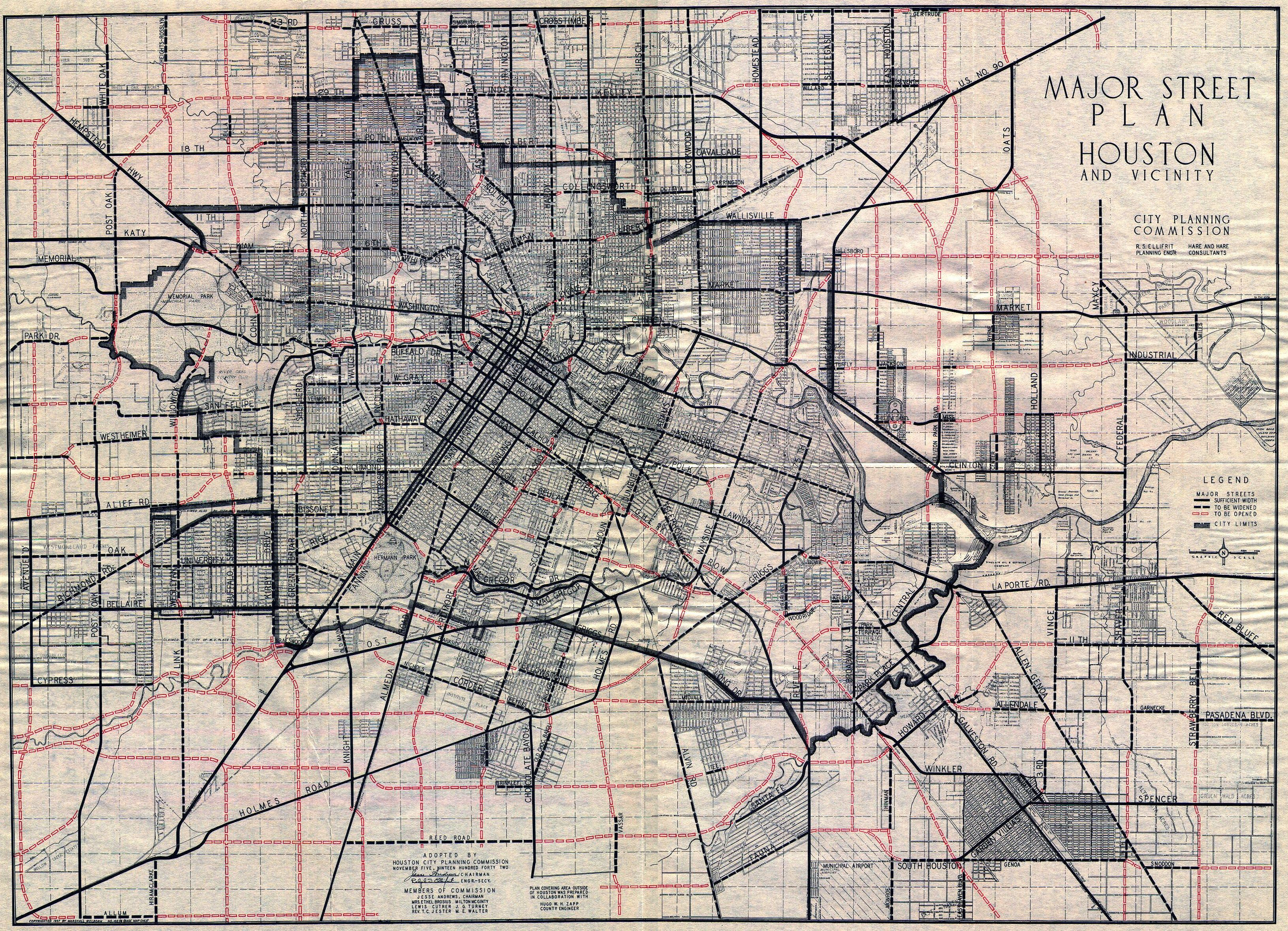 Old Houston Maps   Houston Past 1955     Street Topographic Map of Houston