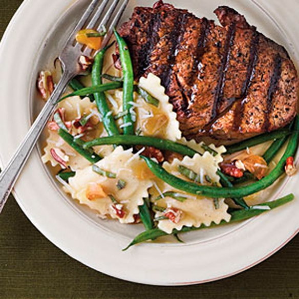 Grilled-Fillets-with-Pecans-and-Green-Bean-Ravioli