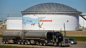 Enbridge storage tank - photo from Dan Riedlhuber, Reuters