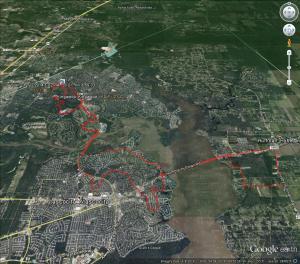 Ride route - Google Earth