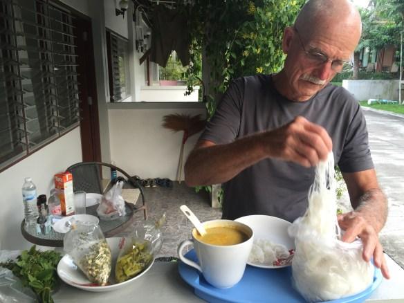Yam Mu Ya with seafood provided by a friend