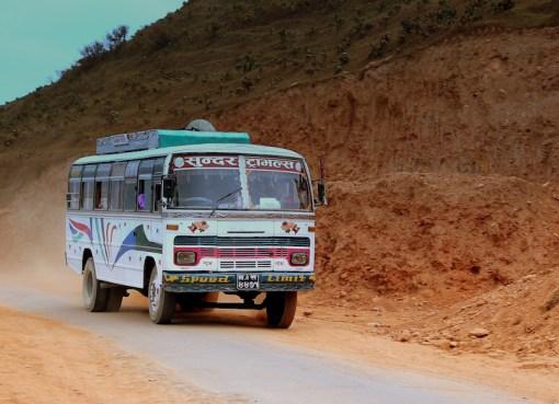 TATA bus at Fewa Lake Pokhara in Nepal