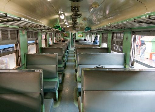 3rd class train interior. Train No. 111 Bangkok - Denchai