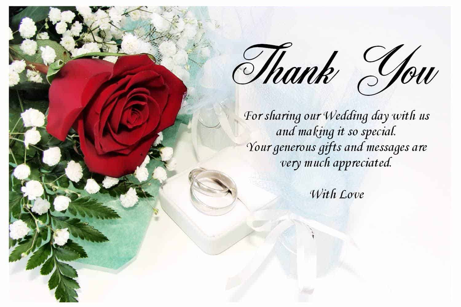 No Gift Wedding Message : Thank You Letter after Wedding Ceremony