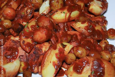 Roasted chili-citrus chicken with mixed olives and potatoes