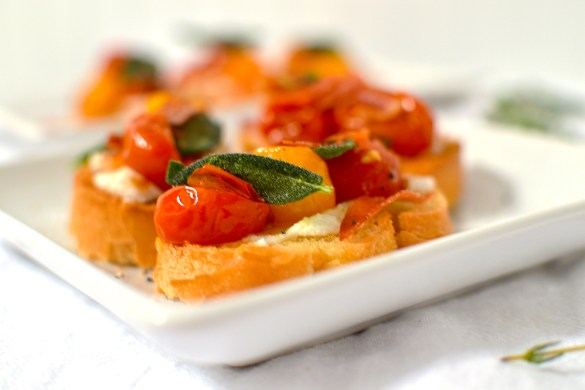 Ricotta and Roasted Tomato Bruschetta with Prosciutto & Sage from @foodandwine | That Square Plate