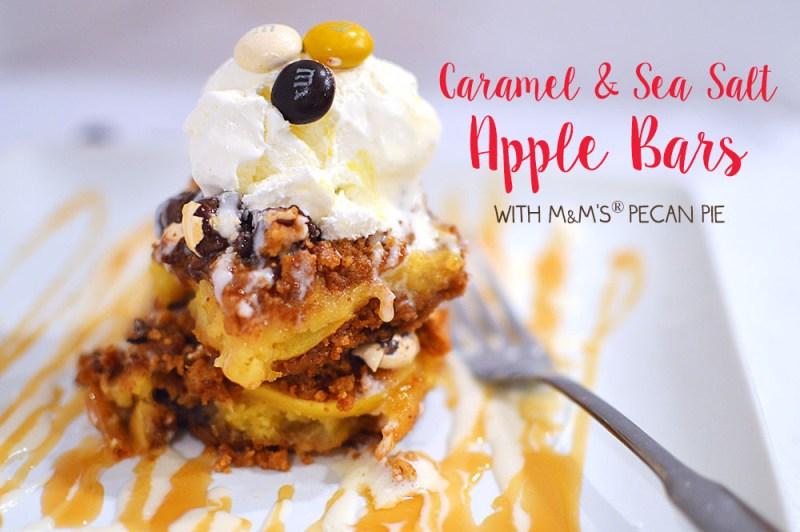 Caramel & Sea Salt Apple Bars with M&M's® Pecan Pie from @thatsquareplate #BakeInTheFun #shop