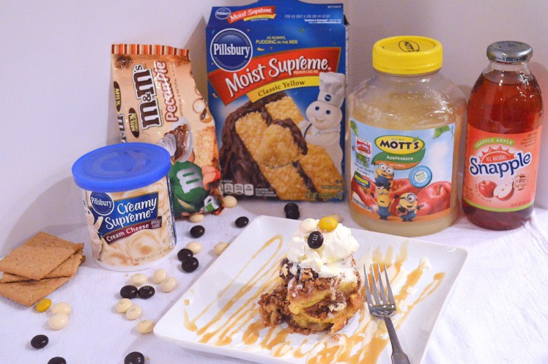 Caramel & Sea Salt Apple Bars with M&M's® Pecan Pie from @thatsquareplate #BakeInTheFun