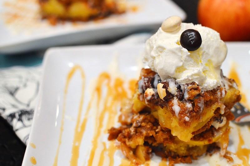 Caramel & Sea Salt Apple Bars with Pecan Pie M&M's® from @thatsquareplate #BakeInTheFun
