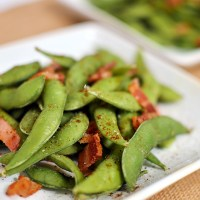 Edamame with Bacon and Chili P