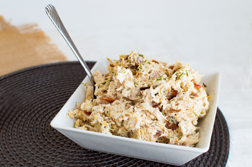 Chicken salad with an indulgent mix of cheddar, bacon, and chives ...