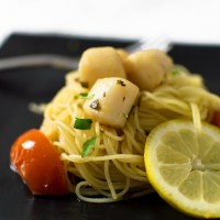 Tomato and Scallop Pasta with a Lemon-Vermouth Sauce