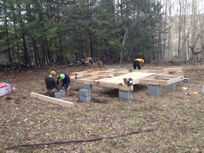 building the yurt platform, leveling the cinder block foundation