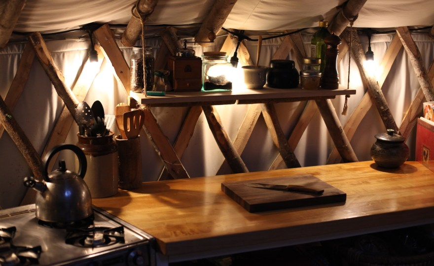 The Cookbooks in Our Tiny Yurt Kitchen