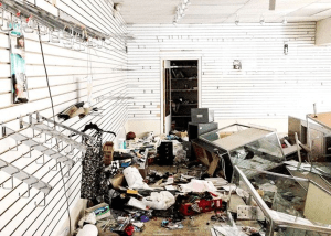 Korean owned beauty shop destroyed in Baltimore riots. Asian stores were targeted for destruction by roving gangs of blacks in the neighborhoods the stores served while the thugs skipped over black-owned businesses.