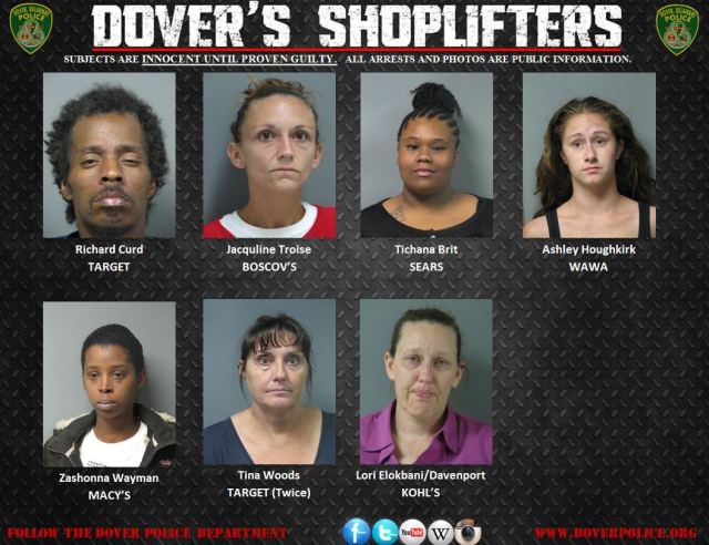 Dover Police shoplifters for Sept 2015