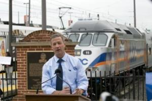 Former Maryland Gov. Martin O'Malley showing off new equipment for MARC Rail.