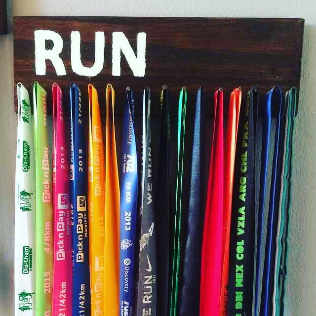 Display your race medals on a homemade medal hanger insteadhellip