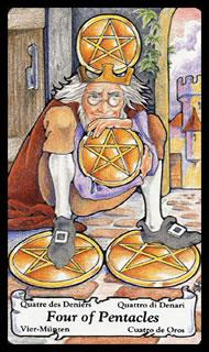 Tarotkaart betekenis Pentakels Vier
