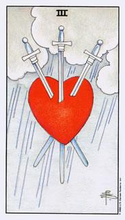 De betekenis van de tarotkaart zwaarden drie bij het kaartleggen met de tarot.
