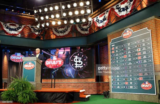 SECAUCUS, NJ - JUNE 9:  Major League Baseball Commissioner Robert D. Manfred Jr. announces the final selection of the first round of the 2016 Major League Baseball First-Year Player Draft at the MLB Network on Thursday, June 9, 2016 in Secaucus, New Jersey. (Photo by Alex Trautwig/MLB Photo via Getty Images) *** Local Caption *** Rob Manfred