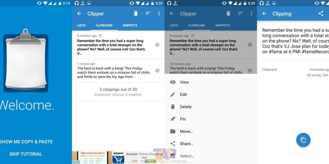 Want to Use clipboard on android phone - Use Clipper app