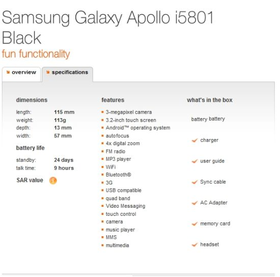Samsung Apollo i5801 Spec Sheet