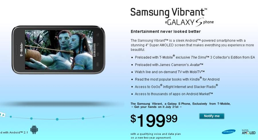 Samsung Vibrant for $199.99 with 2 year contract